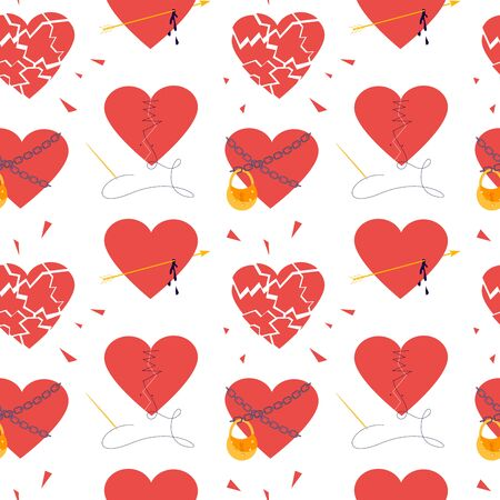 Seamless pattern with Red hearts. Clipart of broken heart sewing by thread, in chains closed on lock, covered a cage, in a web. Symbols of love, wedding and Valentines day Flat Art Vector Illustration Ilustração
