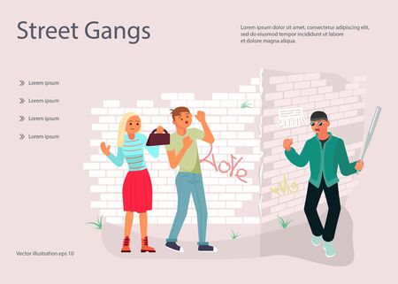 Landing web page template with A robber with baseball bat is threatening to a young couple on the street. Frightened character guy protects his girlfriend from a bandit. Flat Art Vector Illustration Иллюстрация