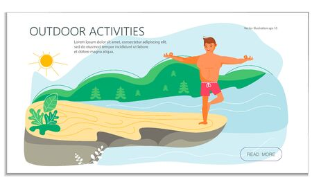 Young man on a high rock of cliff above the river in yoga pose. Metaphor of freedom and harmony with nature. Flat Art Vector Illustration Stock Illustratie