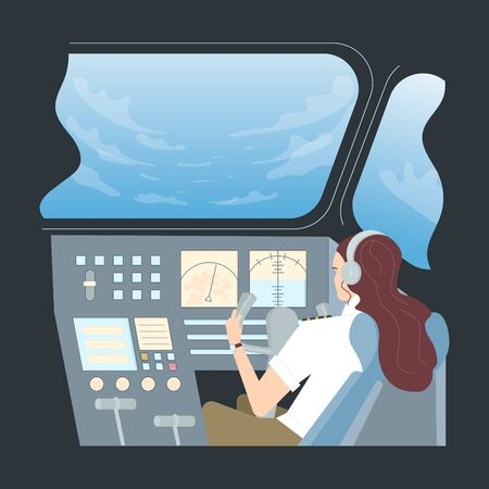 Female Pilot in Aircraft cockpit. Confident woman captain character travel by plane. Flat Art Vector Illustration