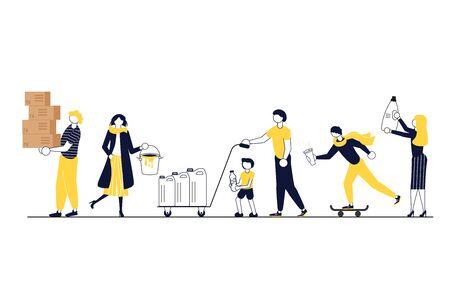 Différentes personnes transportent une variété de déchets à recycler. Concept séparé de collecte des déchets et de traitement environnemental. Illustration vectorielle d'art plat