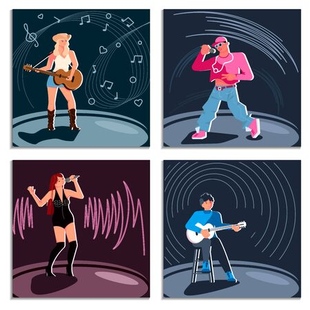 Set of different singers. Disco pop and rap artists singing into a microphone, folk singer playing guitar. Flat Art Vector illustration Ilustração