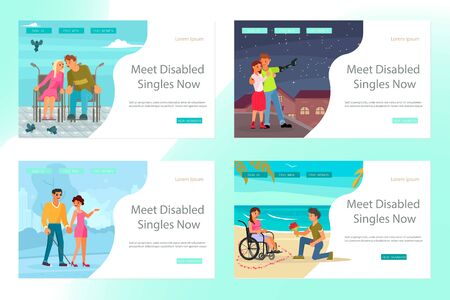 Set of Landing page for Virtual relationships, online dating, and social networking of disabled people. Flat Art Vector Illustration Иллюстрация