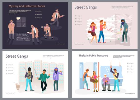 Set of Landing page templates for Detective blog or agency. Detectives characters at Work Investigating and Solving Crimes, street gangs and robbers. Flat Art Vector illustration