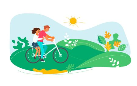 Summer outdoor activity cycling. Couple in love together on a bicycle. Flat Art Vector Illustration