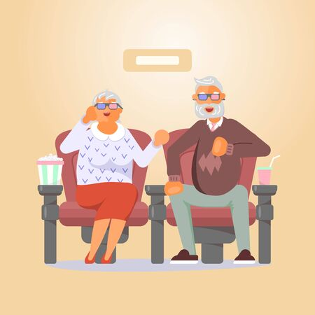Couple of seniors in 3d glasses sitting in cinema and watch movie. Characters with popcorn and soda. Flat Art Vector Illustration Ilustracja