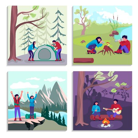 Bundle of concept vacations outdoor picnic bivouac in forest. Happy man and woman backpackers hikers travel together. Set of hiking trekking people. Flat Art Vector Illustration