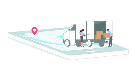Parcel and mail delivery service and tracking app website template. Smartphone with map on the screen and people load cargo into the truck. Online Navigation shipping. Flat Art Vector illustration