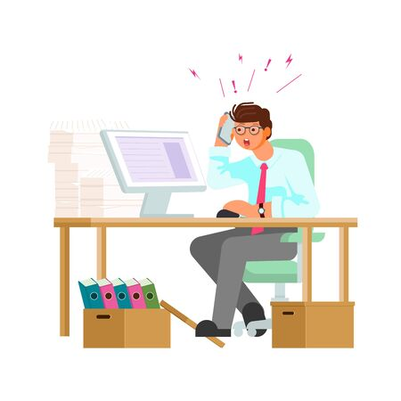 Stressed man working hard with a lot of papers, piles of documents, computer, telephone calls. Office work, work load concept. Flat Art Vector Illustration Иллюстрация