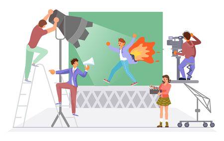 Composition du processus de tournage avec un cascadeur en cours d'exécution. Production de films policiers et thrillers. Illustration vectorielle d'art plat