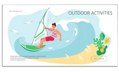 Landing web page template with Wind Surfing concept. Young man have summer vacation on sea. Flat Art Vector Illustration