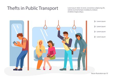Landing web page template with Passengers using their mobile devices in Public transport. Thief pickpocket stealing wallet or purse from mans bag. Crime concept. Flat Art Vector illustration