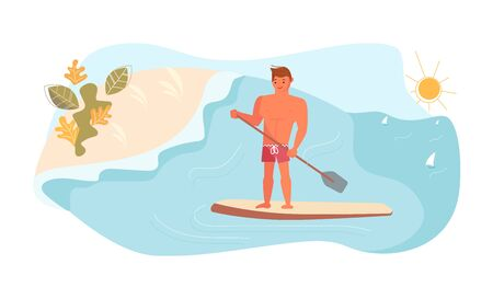 Young man have summer vacation on sea. Stand Up Paddle Surfing concept. Flat Art Vector Illustration Ilustrace