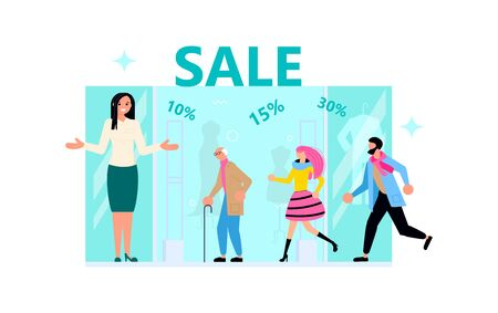 Welcome to store concept with friendly woman seller. Male and female customers run for purchases, the vendor invites them for sale, discount, special offer. Flat Art Vector Illustration