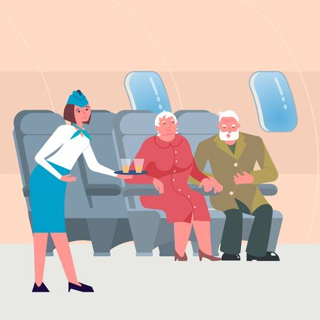 Male and female seniors in airplane seats. Flight attendant in uniform serving drinks to passengers on board of the aircraft. Flat Art Vector Illustration Çizim