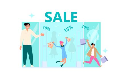 Welcome to store concept with friendly man seller. Male and female happy customers with purchases, the salesman invites them for sale, discount, special offer. Flat Art Vector Illustration