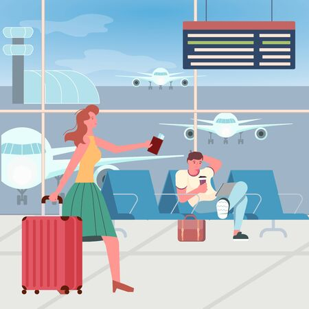 Airport passengers in waiting hall, woman with luggage in a hurry to land gate, man with smartphone sits. Outside the window there are airfield and planes. Flat Art Vector Illustration Çizim