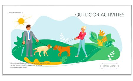 Landing web page template with Cute pets sniff each other for say hello. Dog walker and pet owner with domestic animals in public park. Flat Art Vector Illustration