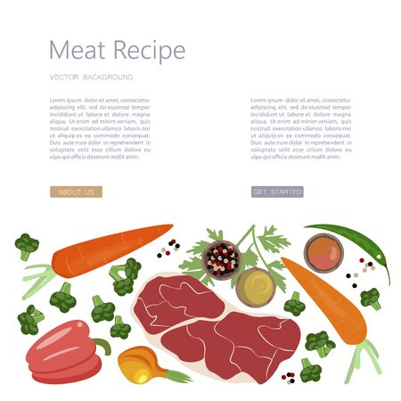 Landing web page template with Raw food for cooking. Vegetables, meat and spice on a white background in a rustic style. Flat Art Vector Illustration