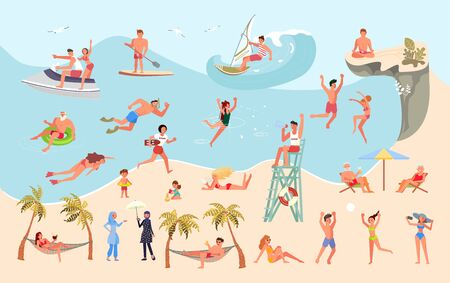 Big set of people on the beach. Tourists swim, sunbathe, engage in watersports, jump from a cliff and have relax at seaside. Flat Art Vector Illustration