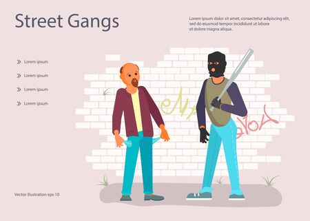 Landing web page template with Crime concept. Robber in black mask with a baseball bat is threatening to a man on the street. Frightened character turns his pockets out. Flat Art Vector Illustration Иллюстрация