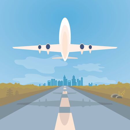 Landing strip or runway for airplanes. Take-off plane against background of blue sky and city. Flat Art Vector illustration