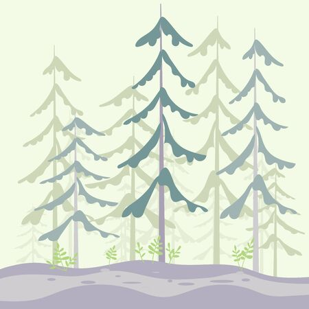Nature landscape with edge of a pine forest and hiking trail. Flat Art Vector Illustration