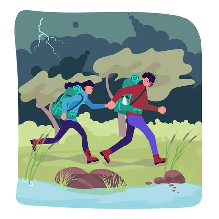 Hiking trekking people. Male and female backpackers hikers travel together, caught in the rain and run away from thunder and lightning. Adventure and camping. Flat Art Vector Illustration