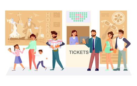 Queue people buy cinema tickets at service movie ticket counter theater. Children with parents going to the cinema. Flat Art Vector Illustration