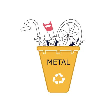 Déchets métalliques dans le bac de recyclage. L'ironie écartée, et les objets ferreux. Illustration vectorielle de dessin au trait