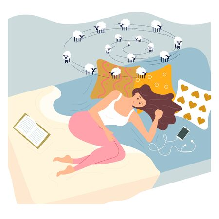 Young woman character is lying on back in bed with insomnia. Female Insomniac is counting sheeps. Sleeping control concept. Flat Art Vector illustration
