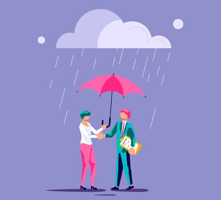 Businessman and businesswoman made a deal and shaking hands. It is a rainy investment climate so Female character hold an umbrella for customer protection. Isolated on purple. Flat Art Vector Illustration
