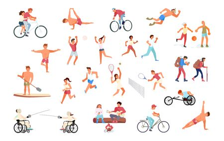 Big set of sport people in various workouts. Multiracial and multicultural diversity. Flat Art Vector illustration Ilustracja