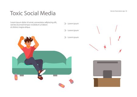 Landing web page template with toxic social media and digital information overload. Young man is angry and screaming with anger while watching the news on TV. Flat Art Vector Illustration Illustration