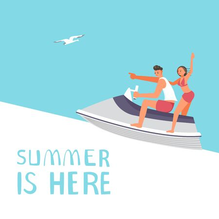 Summer sale square banner template. People on summer vacation concept. A young man and woman race on aquabike. Flat Art Vector Illustration Векторная Иллюстрация