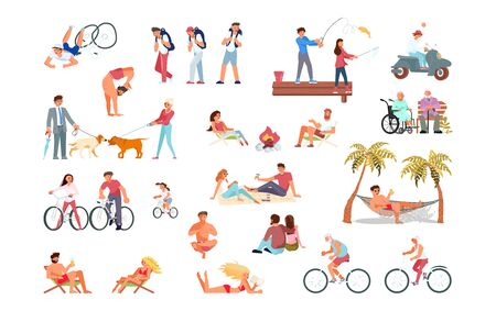 Big set of summer activity for people in various situations. Multiracial and multicultural diversity. Flat Art Vector illustration