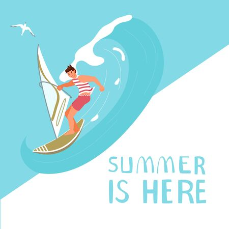 Summer sale square banner template. People on summer vacation concept. A young man on Wind Surfing. Flat Art Vector Illustration Stock Illustratie
