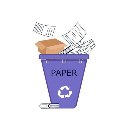 Paper waste in recycling bin. Discarded pulp concept. Flat Line Art Vector Illustration