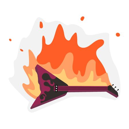 Guitar in fire flames isolated on white. Hard Rock or Rock and Roll metaphor. Flat Art Vector Illustration Иллюстрация