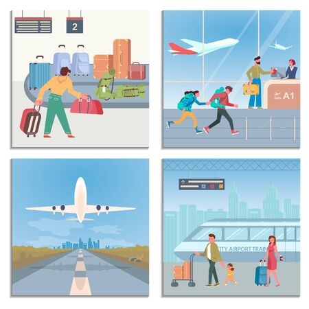 Set of Airport Banners. Luggage conveyor belt, lounge interior, runway for airplanes, airport train and passengers. Flat Art Vector illustration Иллюстрация