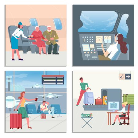 Set of Airport Banners. Luggage conveyor belt, lounge interior, runway for airplanes, airport train and passengers. Flat Art Vector illustration