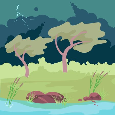 Autumn stormy weather. Thunderstorm and lightning over bank of the river and forest. Flat Art Vector Illustration