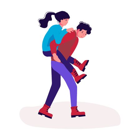 Hiking trekking people. Happy man and woman backpackers hikers travel together. Bundle of adventure and camping in nature. Flat Art Vector Illustration