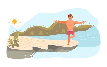 Young man on a high rock of cliff above the river in yoga pose. Metaphor of freedom and harmony with nature. Flat Art Vector Illustration Иллюстрация