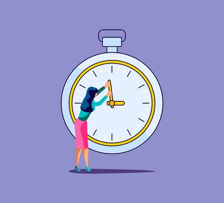Woman holds the clock hand and tries to stop time. Metaphor of timemanagement. Isolated on purple. Flat Art Vector Illustration