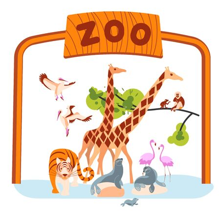 Zoo invite banner design. Zoological garden entrance template with various animals and birds. Flat Art Vector illustration