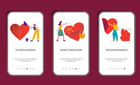 Set of mobile application template of intense emotional pain of lost lover.  Psychological Metaphor of broken heart. Flat Art Vector Illustration