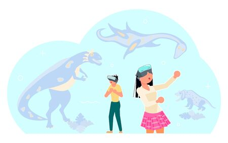 People character in virtual reality game. Man and woman in vr glasses interact with dinosaurs. Flat Art Vector illustration