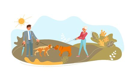 Cute pets sniff each other for say hello. Dog walker and pet owner with domestic animals in public park. Flat Art Vector Illustration