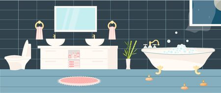 Horizontal banner bathroom interior with furniture and stuff glowing. Flat Art Vector illustration